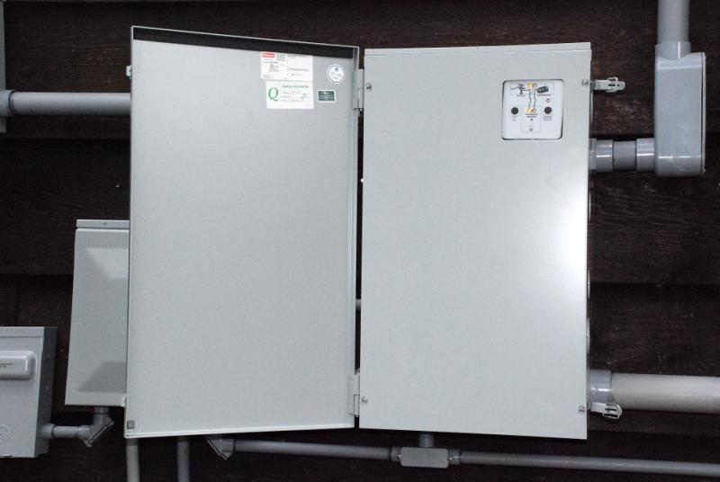 The AC Power and Emergency Generator System at W5JGV Dead Front Electrical Panel on
